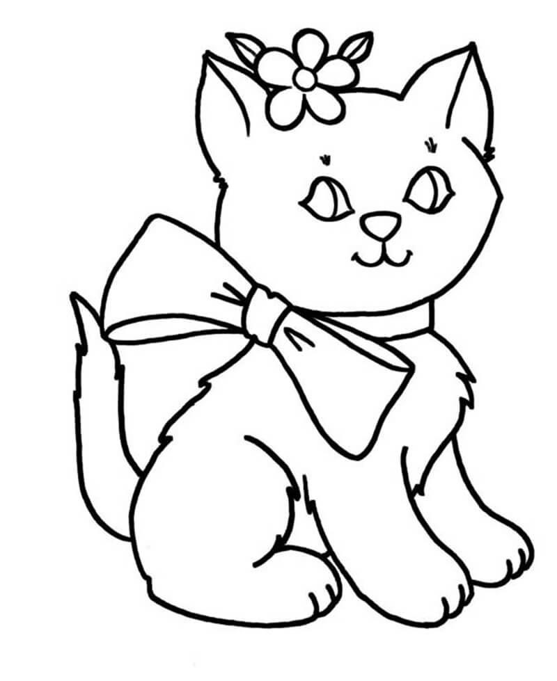 tranh tô màu con vật cho bé tập tô màu - con mèo